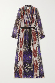 Belted printed linen and silk-blend voile robe