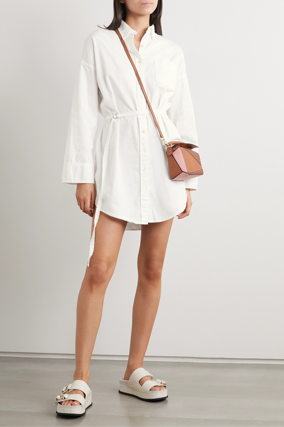 Denimist Belted cotton mini shirt dress