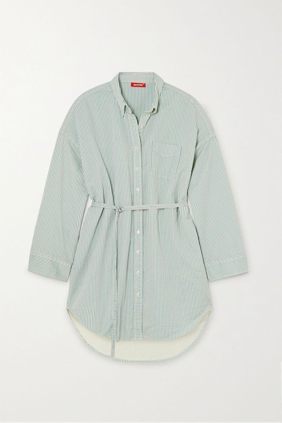 Denimist Belted striped cotton mini shirt dress