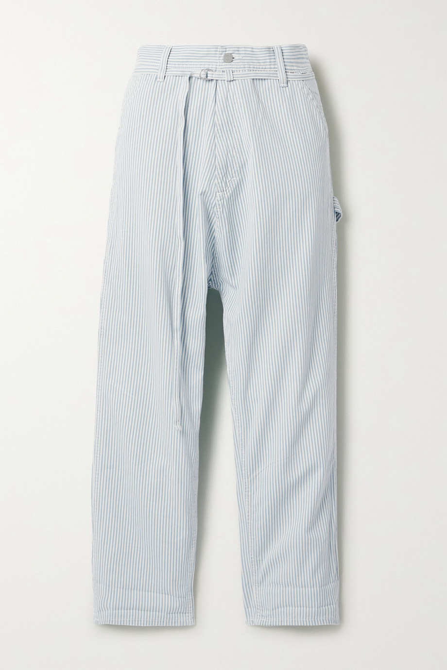 Denimist Carpenter belted striped cotton-twill pants