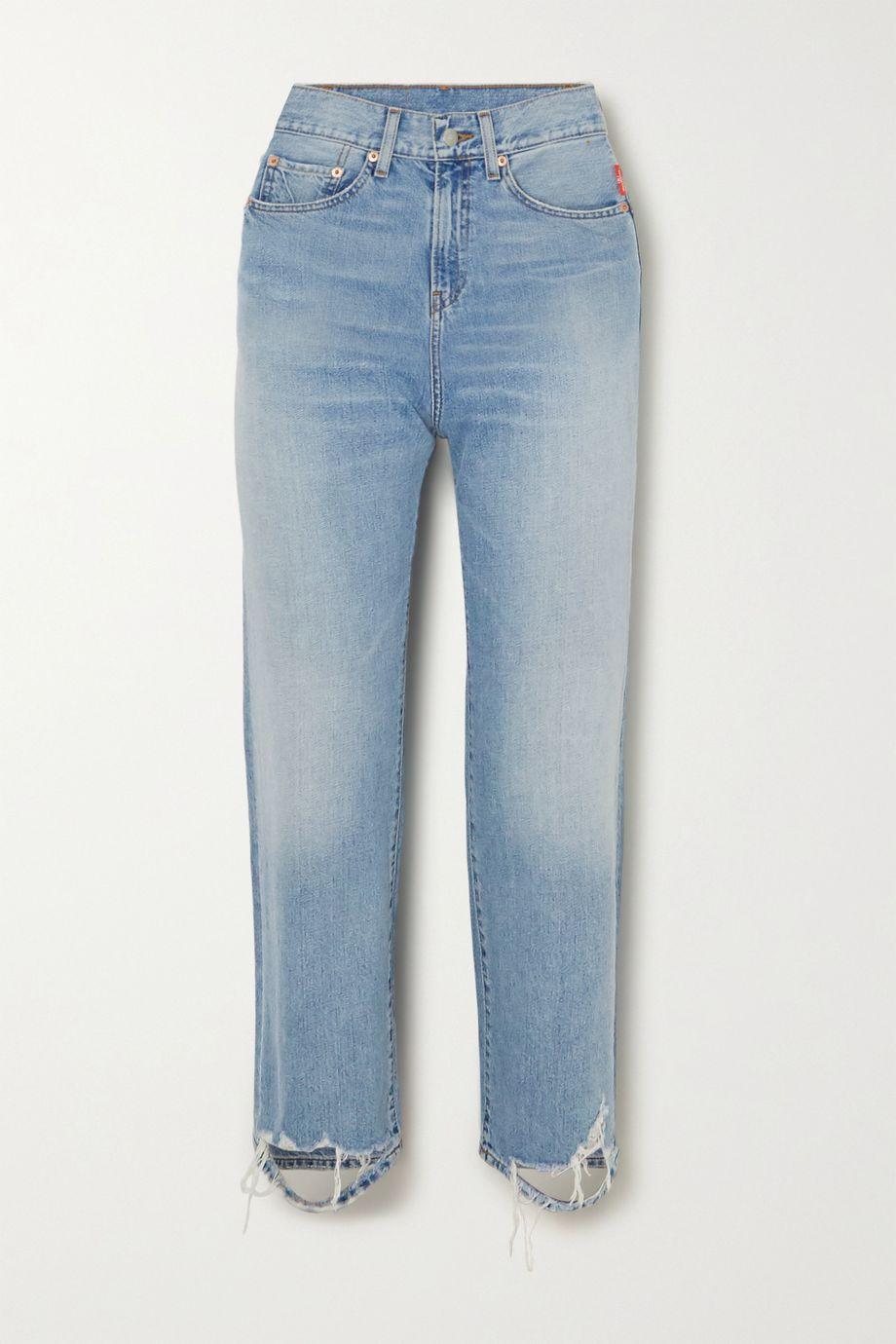 Denimist Pierce cropped distressed high-rise straight-leg jeans