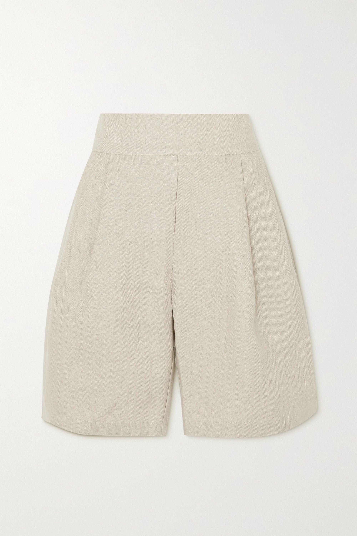 MATIN Pleated linen-canvas shorts