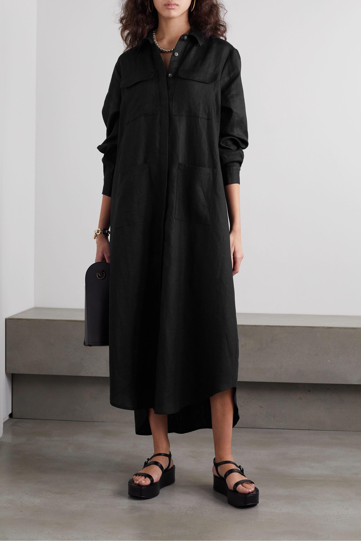 Spiksplinternieuw Black Linen-canvas maxi shirt dress | MATIN | NET-A-PORTER XV-66