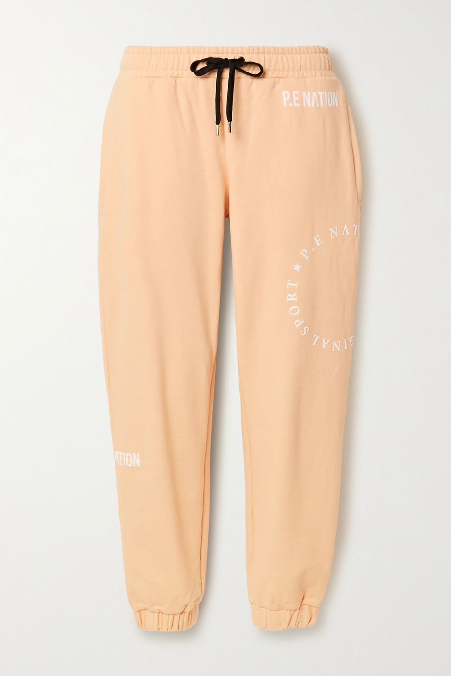 P.E NATION Field Goal flocked organic cotton-jersey track pants