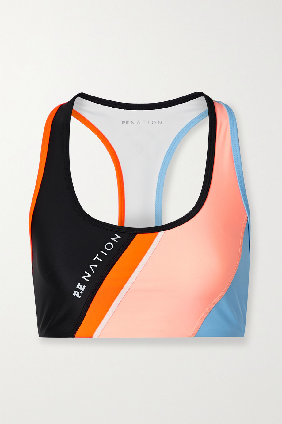 P.E NATION Aerial Drop color-block stretch sports bra