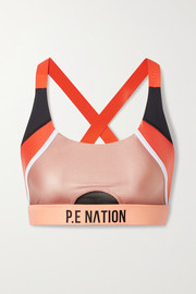 P.E NATION Block Pass metallic color-block stretch sports bra