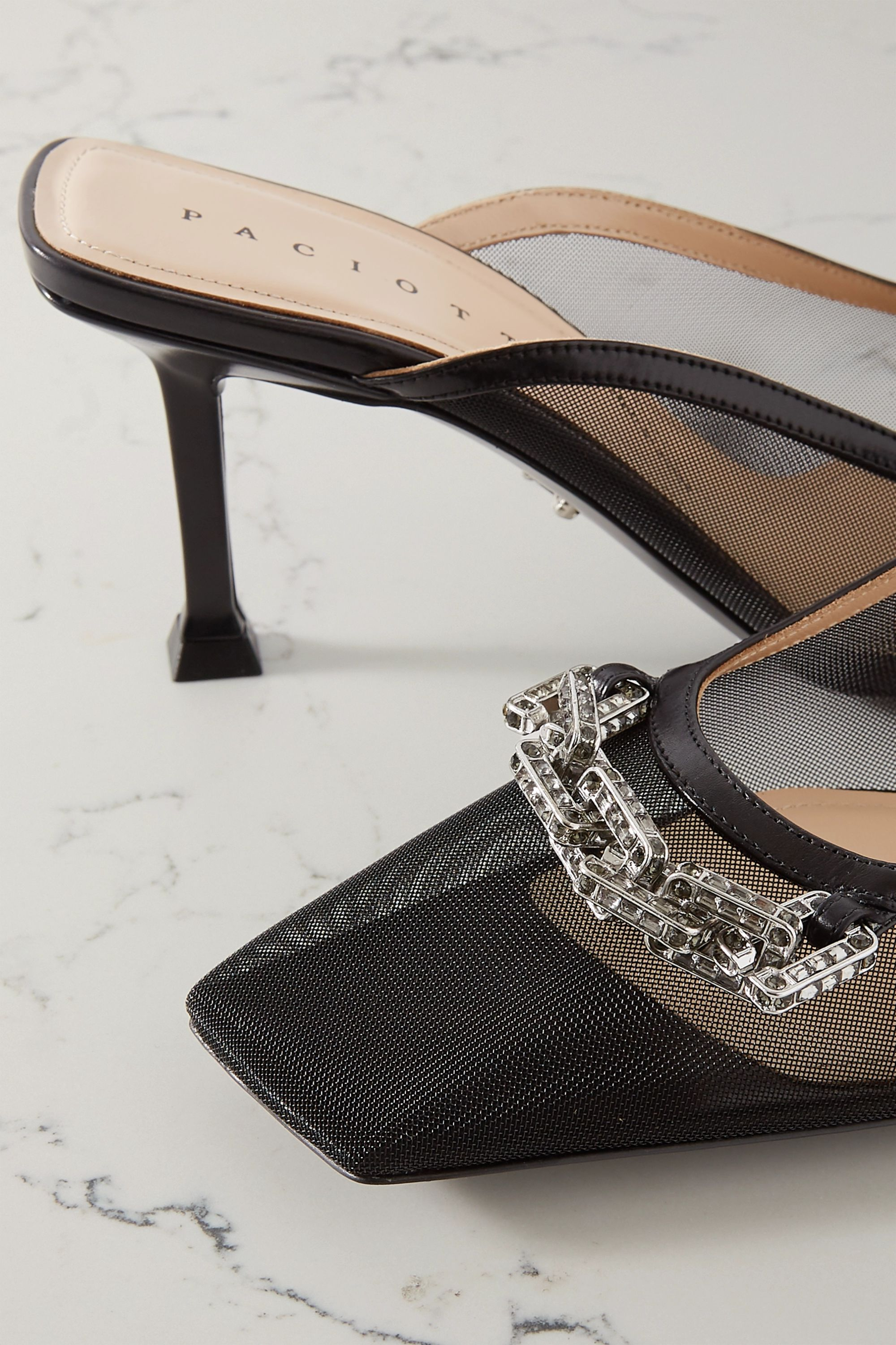 Paciotti Chain-embellished leather-trimmed mesh mules
