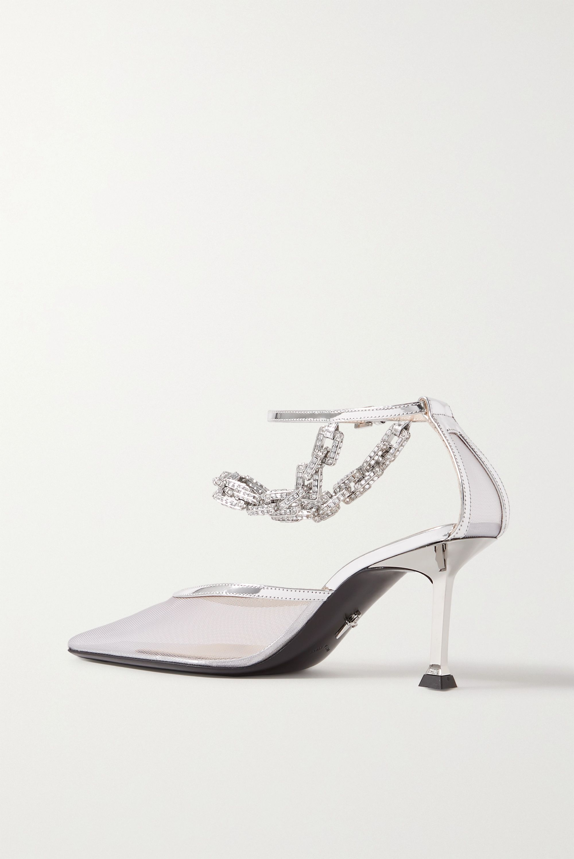 Paciotti Chain-embellished metallic leather-trimmed mesh pumps