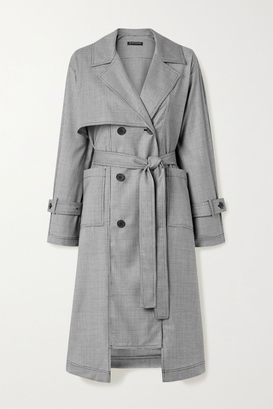 The R Collective + NET SUSTAIN + Wen Pan Dalston belted houndstooth wool trench coat