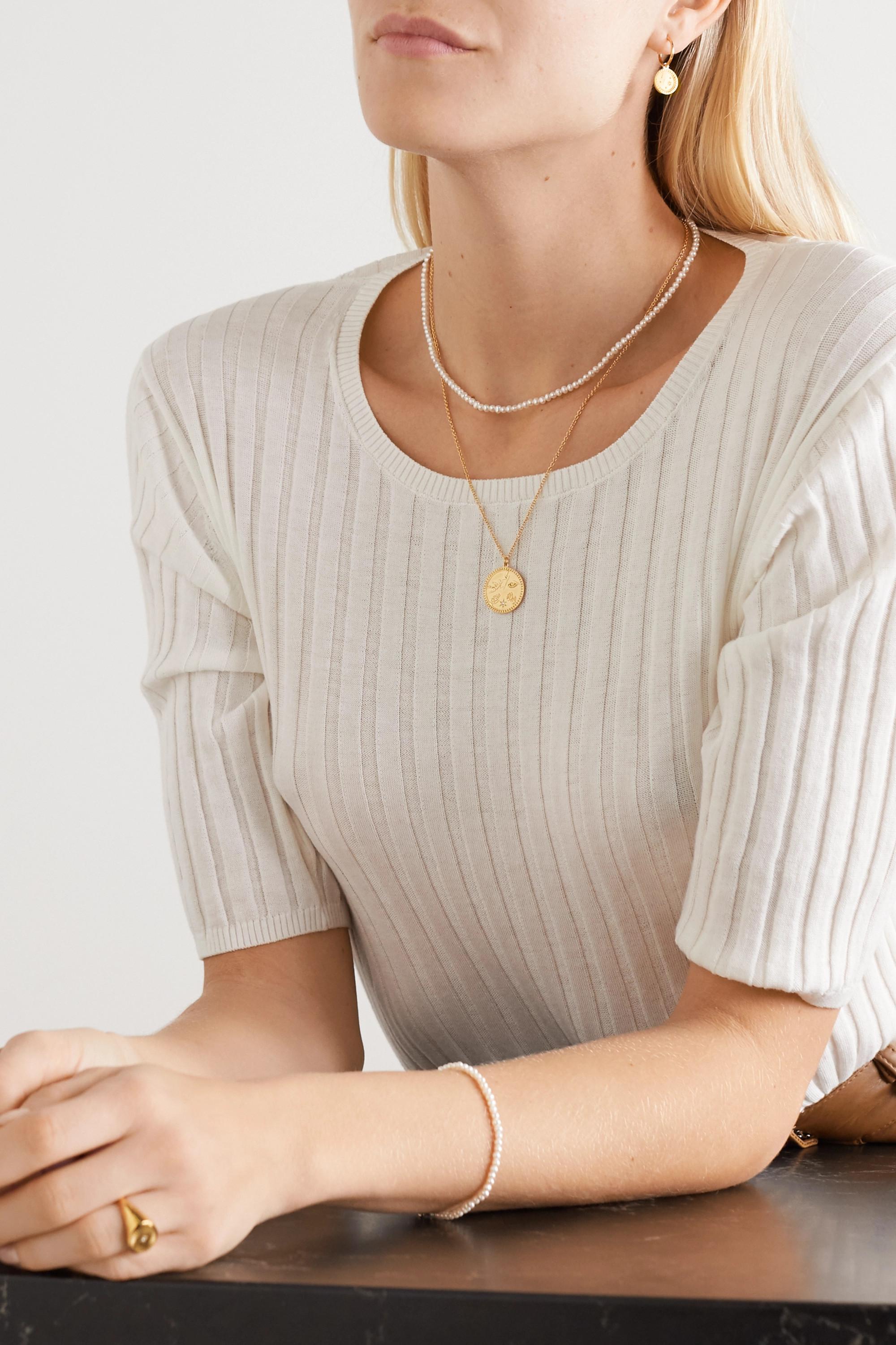 Meadowlark Talisman gold-plated diamond necklace