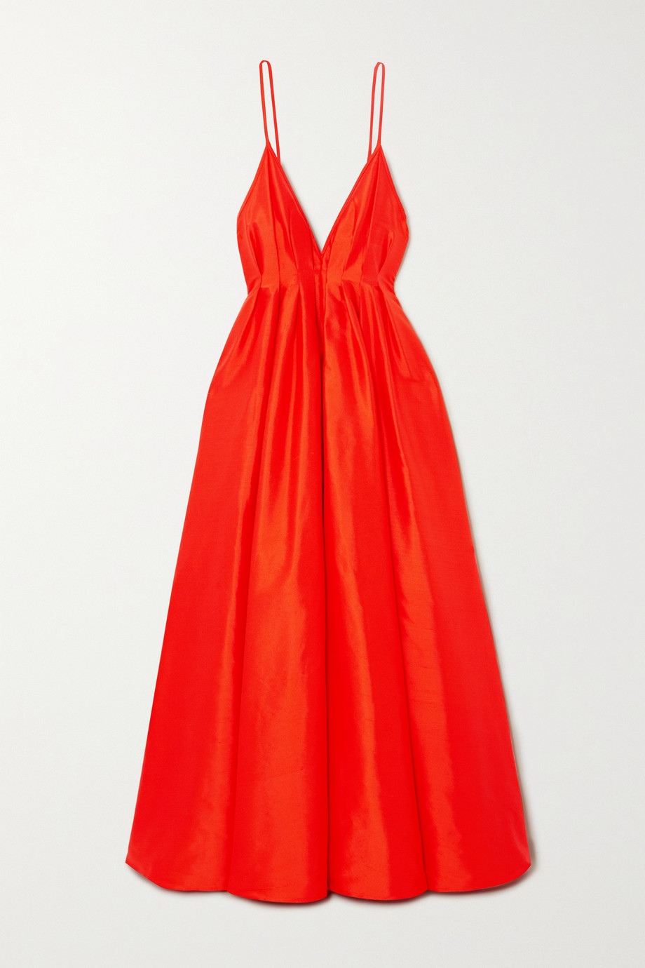 Paris Georgia Bella open-back pintucked silk-taffeta gown