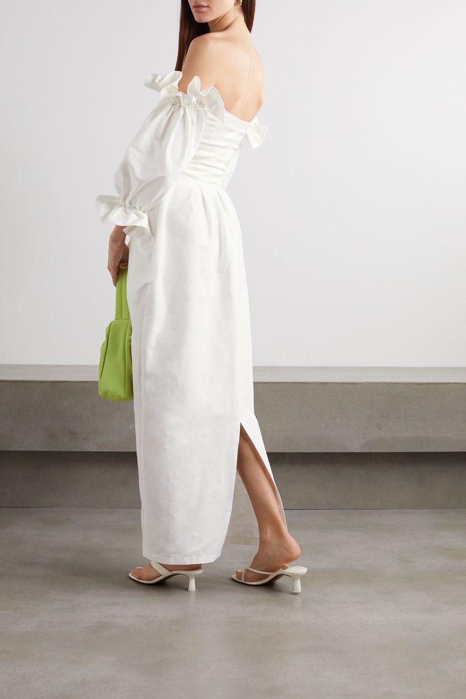 Paris Georgia Pleated cotton and silk-blend poplin maxi skirt