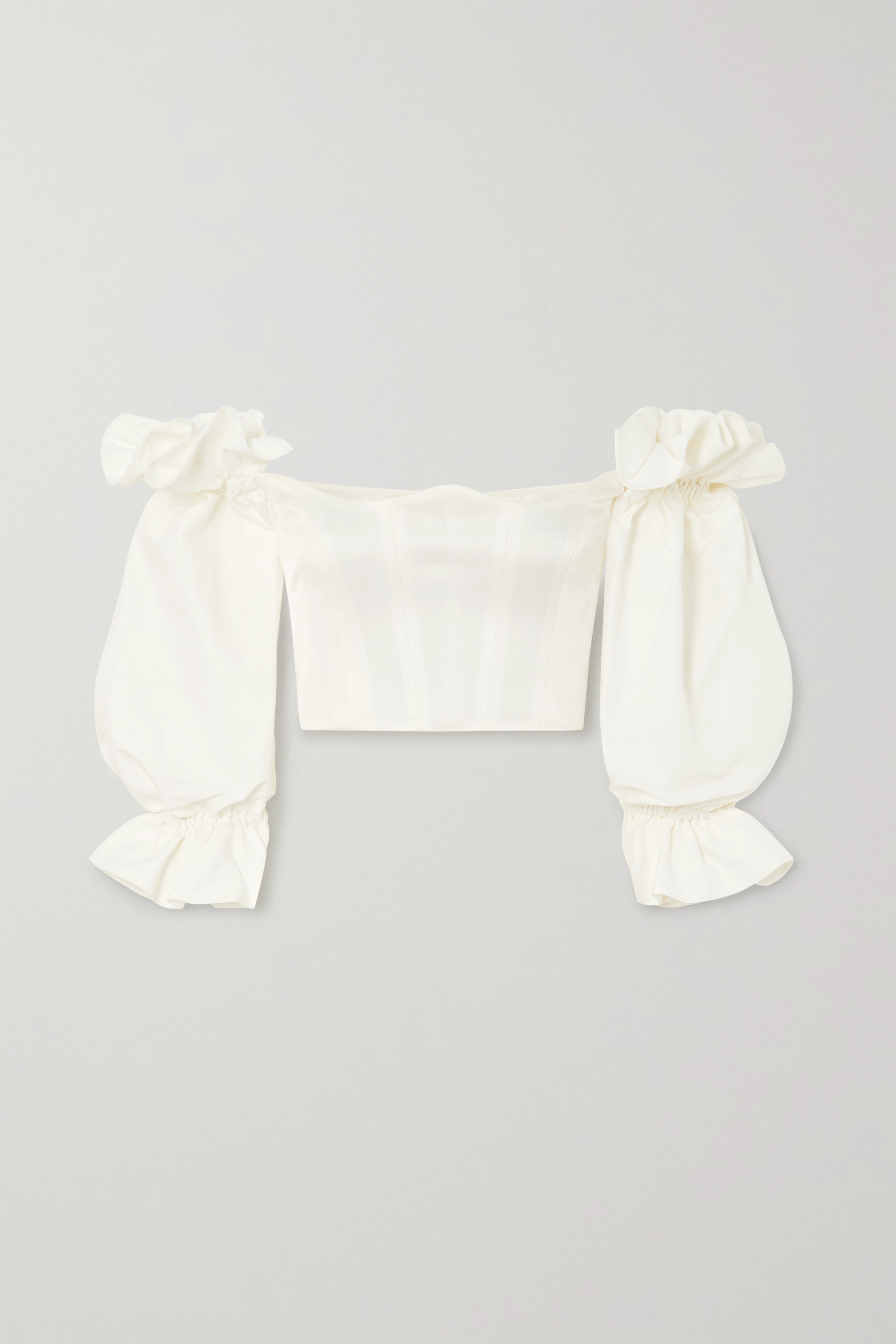 Paris Georgia Off-the-shoulder cropped satin and cotton and silk-blend poplin top