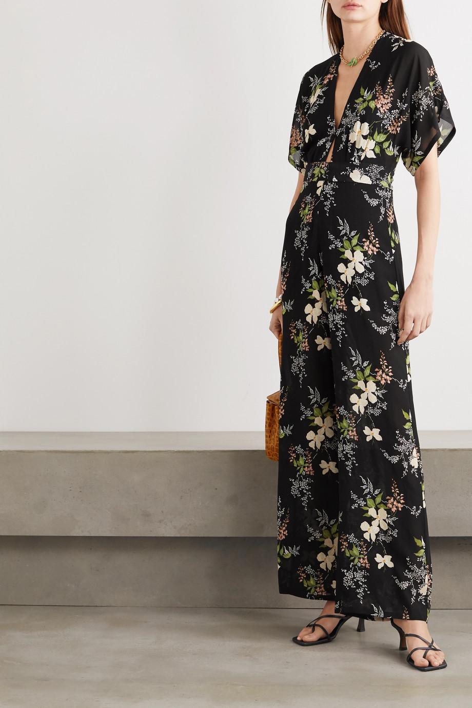 Reformation Combi-pantalon en georgette à imprimé fleuri Lemongrass
