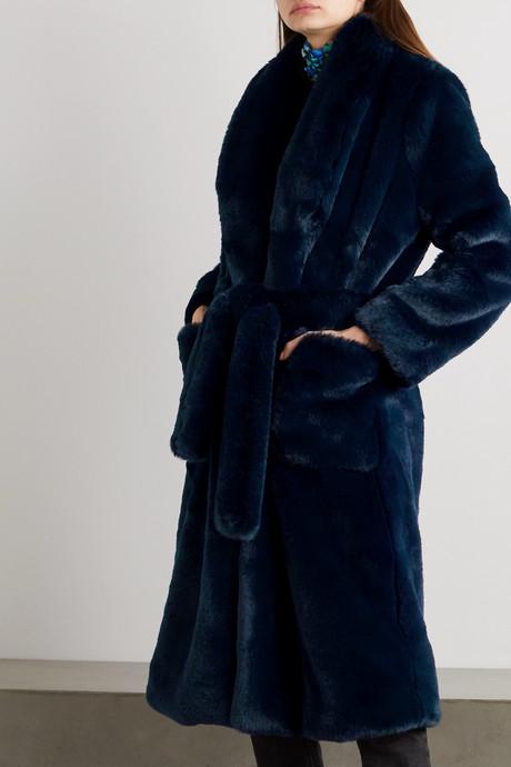 Hudson belted faux fur coat
