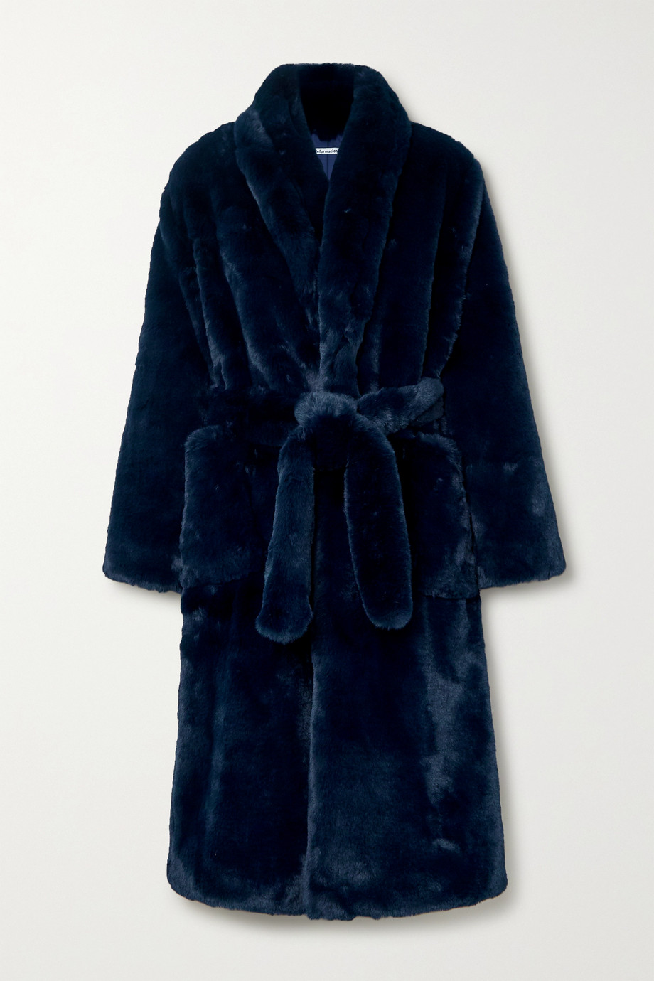 Reformation Hudson belted faux fur coat