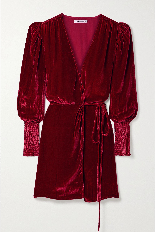 Reformation Boheme velvet wrap dress