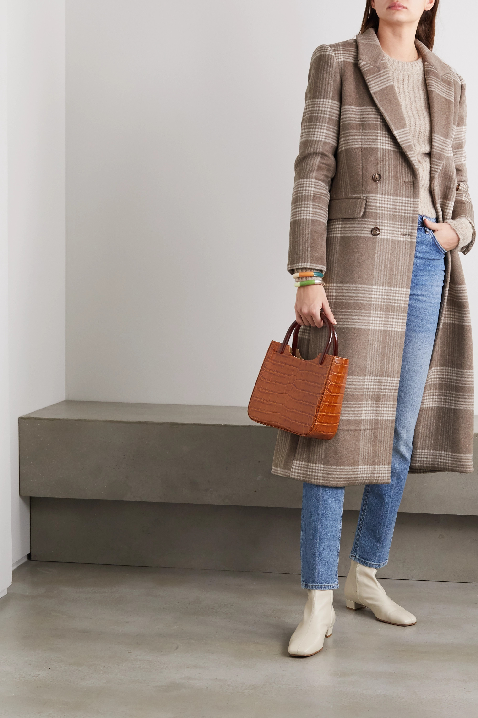Reformation York double-breasted checked woven coat