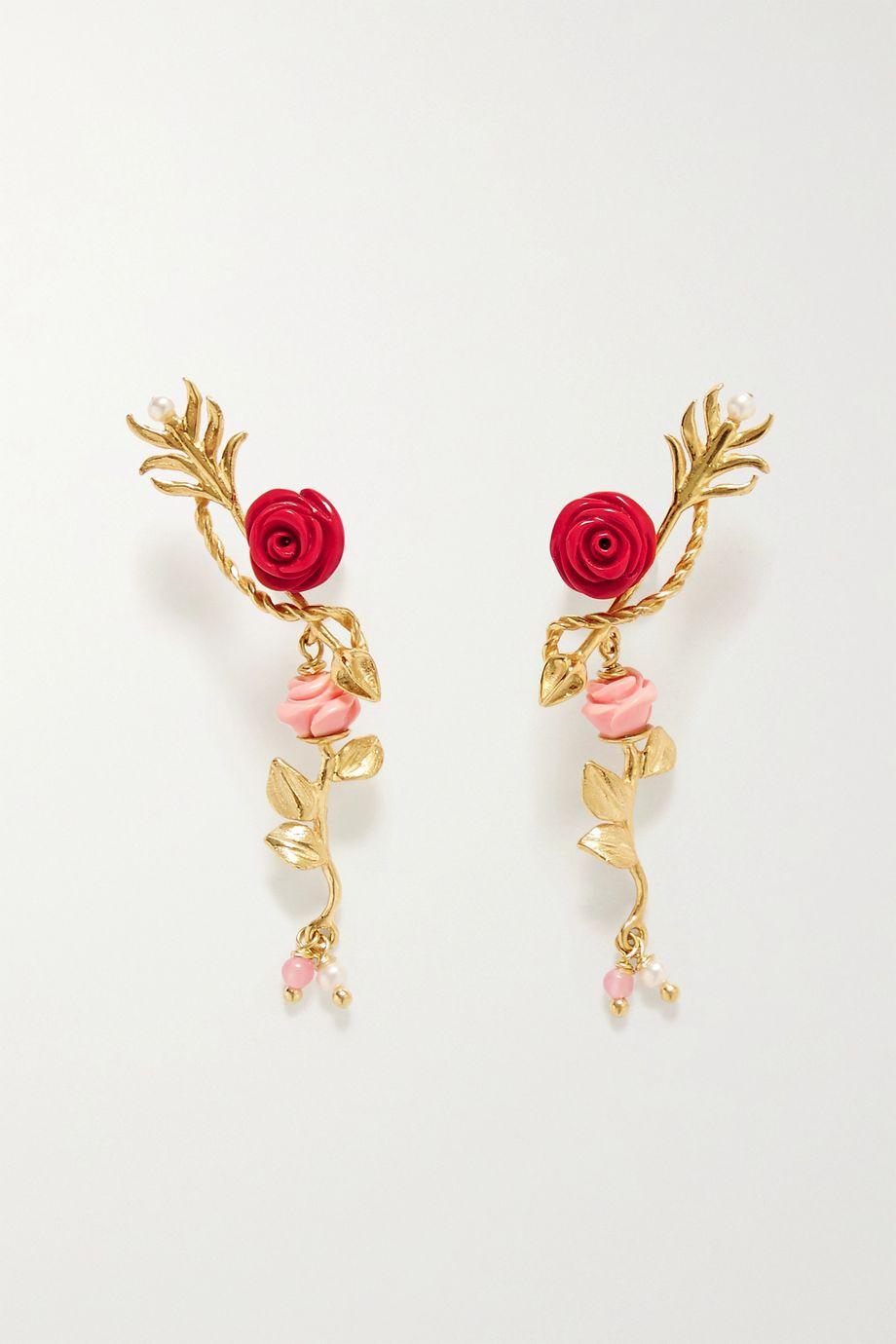 Of Rare Origin Wishing Arrow gold vermeil multi-stone earrings