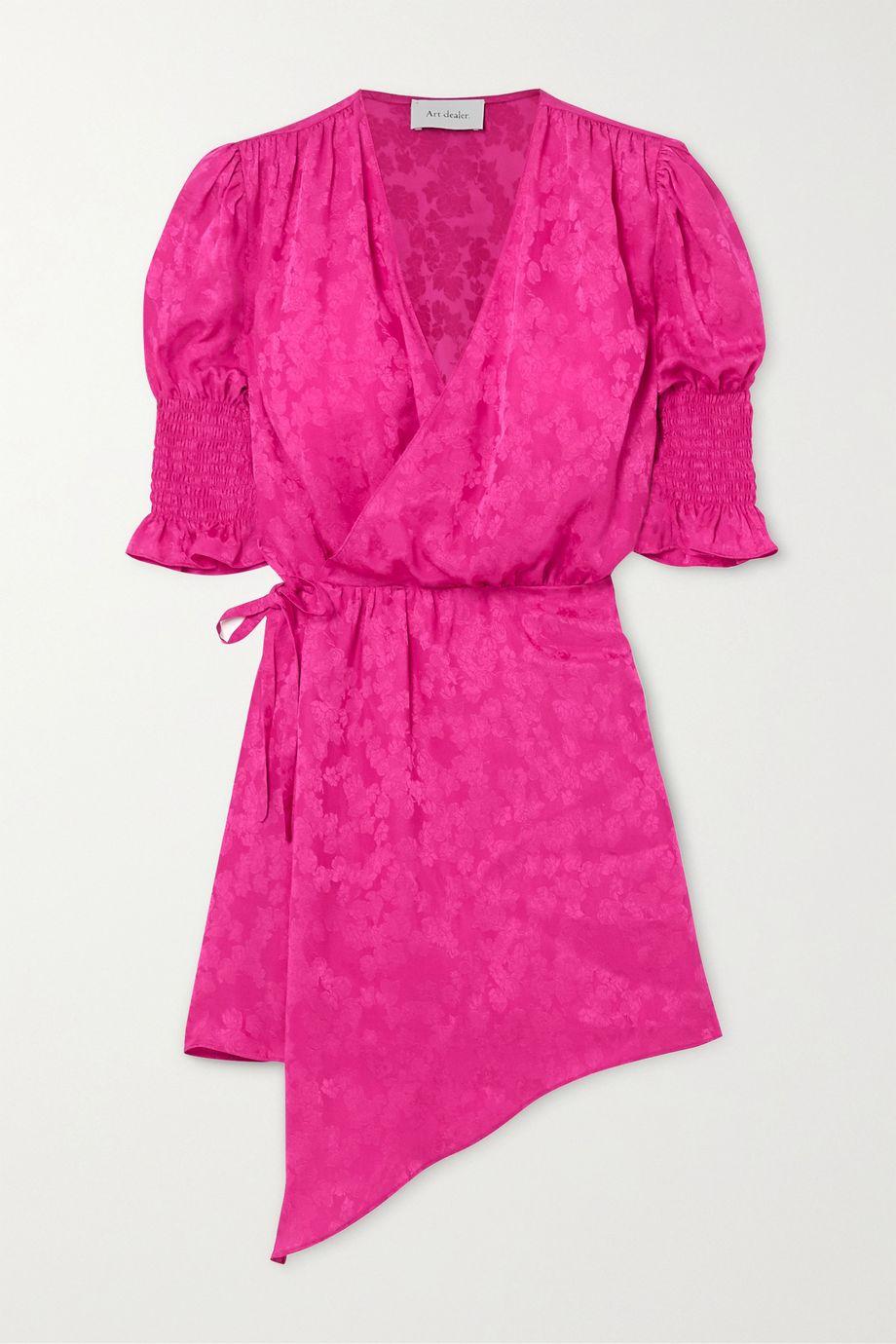 Art Dealer Tyra asymmetric satin-jacquard mini wrap dress