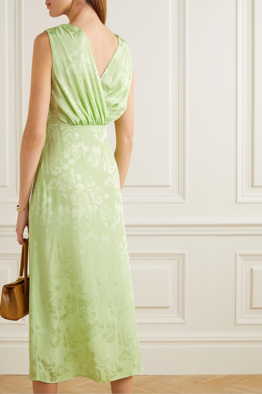 Art Dealer Amber wrap-effect satin-jacquard midi dress