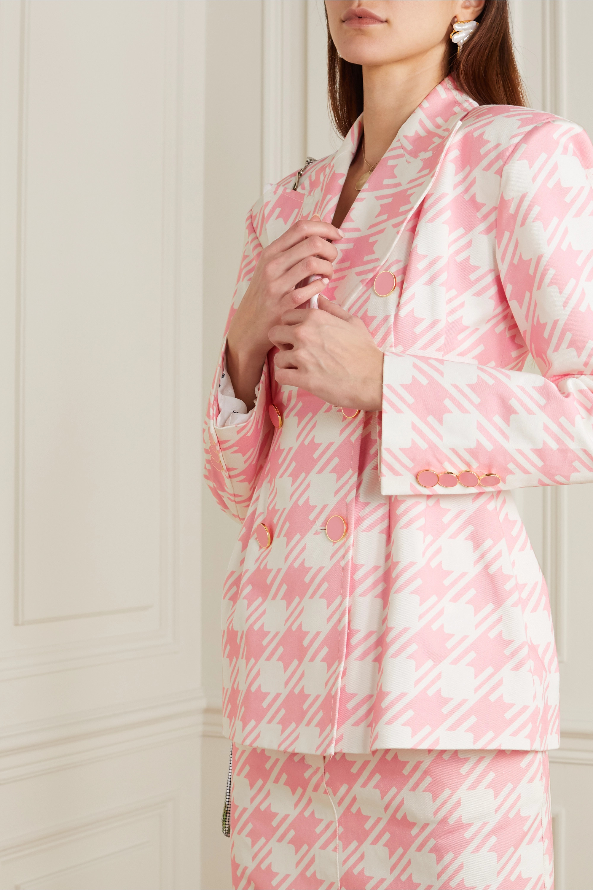Rowen Rose Vichy Iconic double-breasted houndstooth cotton-twill blazer
