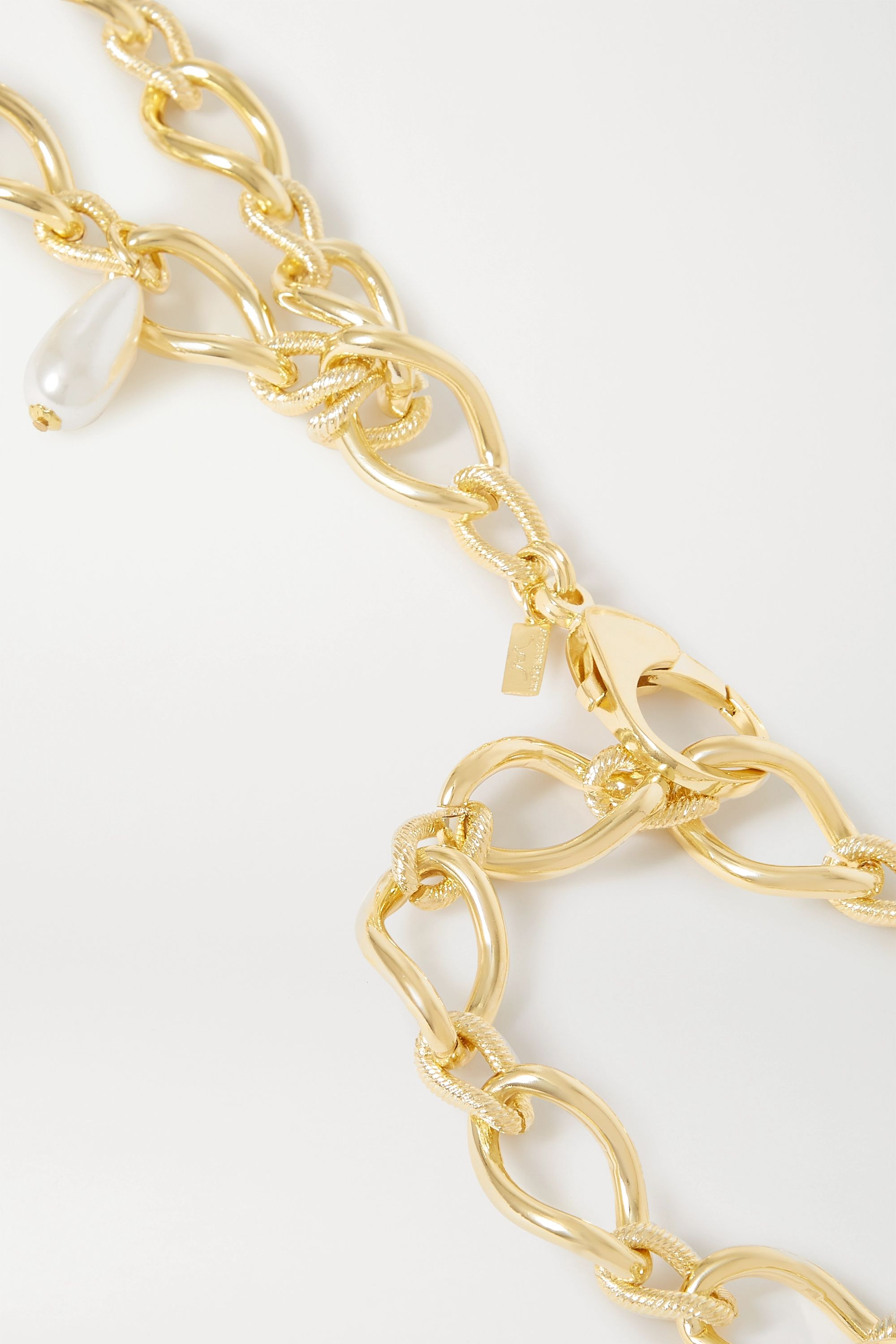 Rowen Rose Gold-tone and faux pearl waist belt