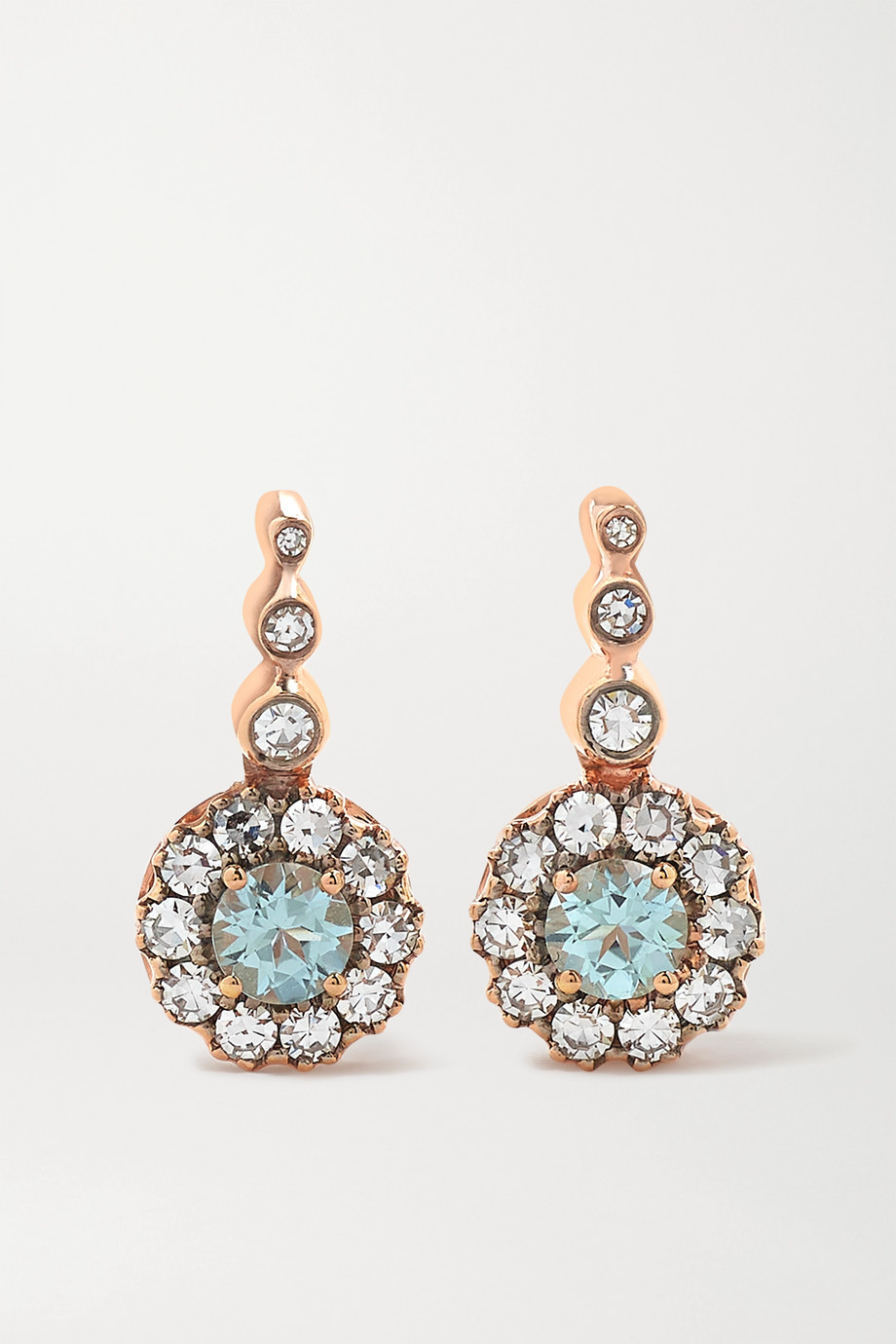 Selim Mouzannar Beirut Basic 18-karat rose gold, paraiba and diamond earrings