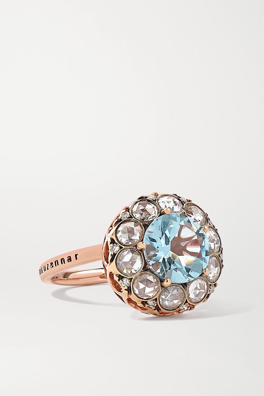 Selim Mouzannar Beirut Ring aus 18 Karat Roségold mit Aquamarin und Diamanten