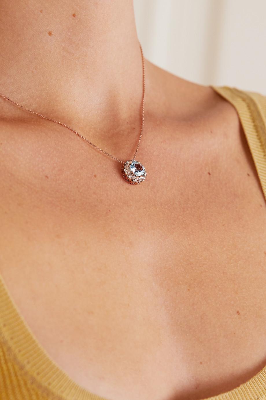 Selim Mouzannar Beirut 18-karat rose gold, aquamarine and diamond necklace