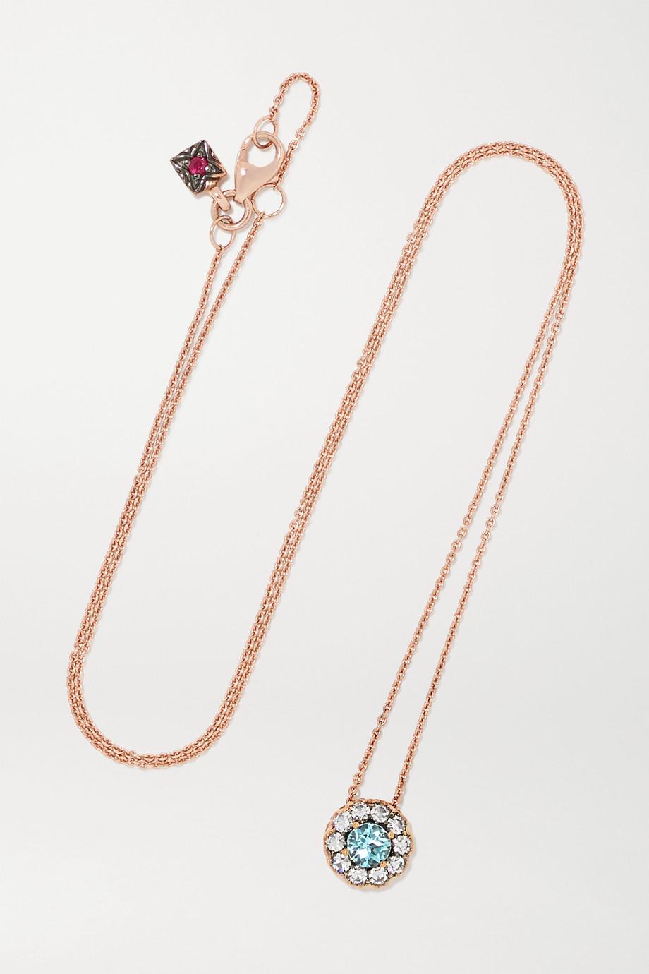 Selim Mouzannar Beirut 18-karat rose gold, paraiba and diamond necklace