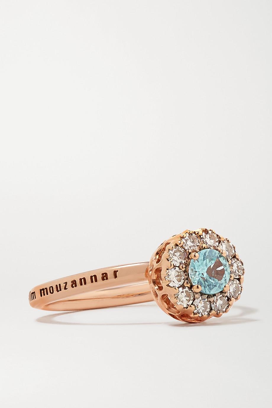 Selim Mouzannar Beirut Basic 18-karat rose gold, paraiba and diamond ring