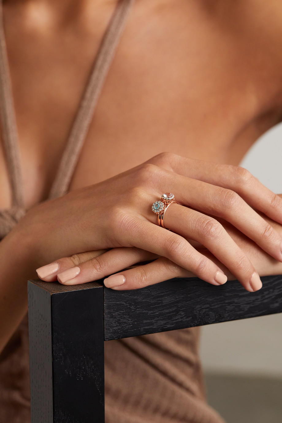 Selim Mouzannar Beirut Basic 18-karat rose gold, morganite and diamond ring