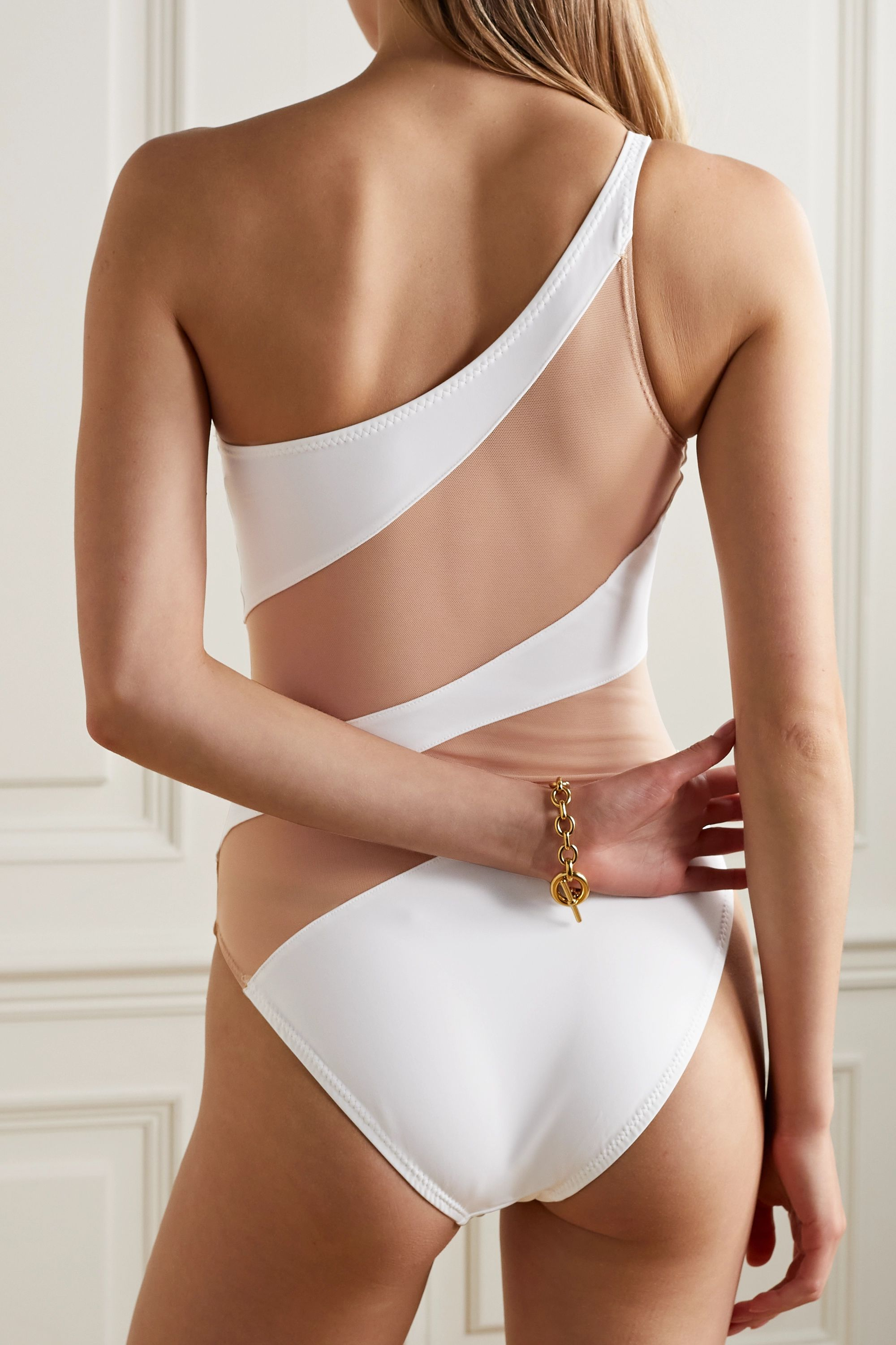 Norma Kamali Snake one-shoulder mesh-paneled swimsuit