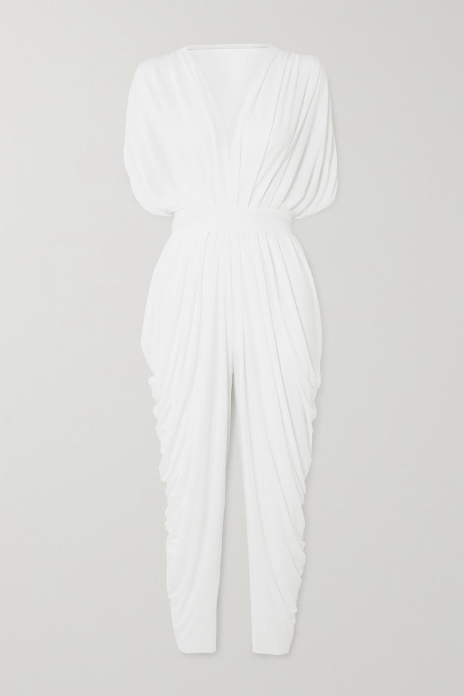 Norma Kamali Waterfall draped crepe jumpsuit