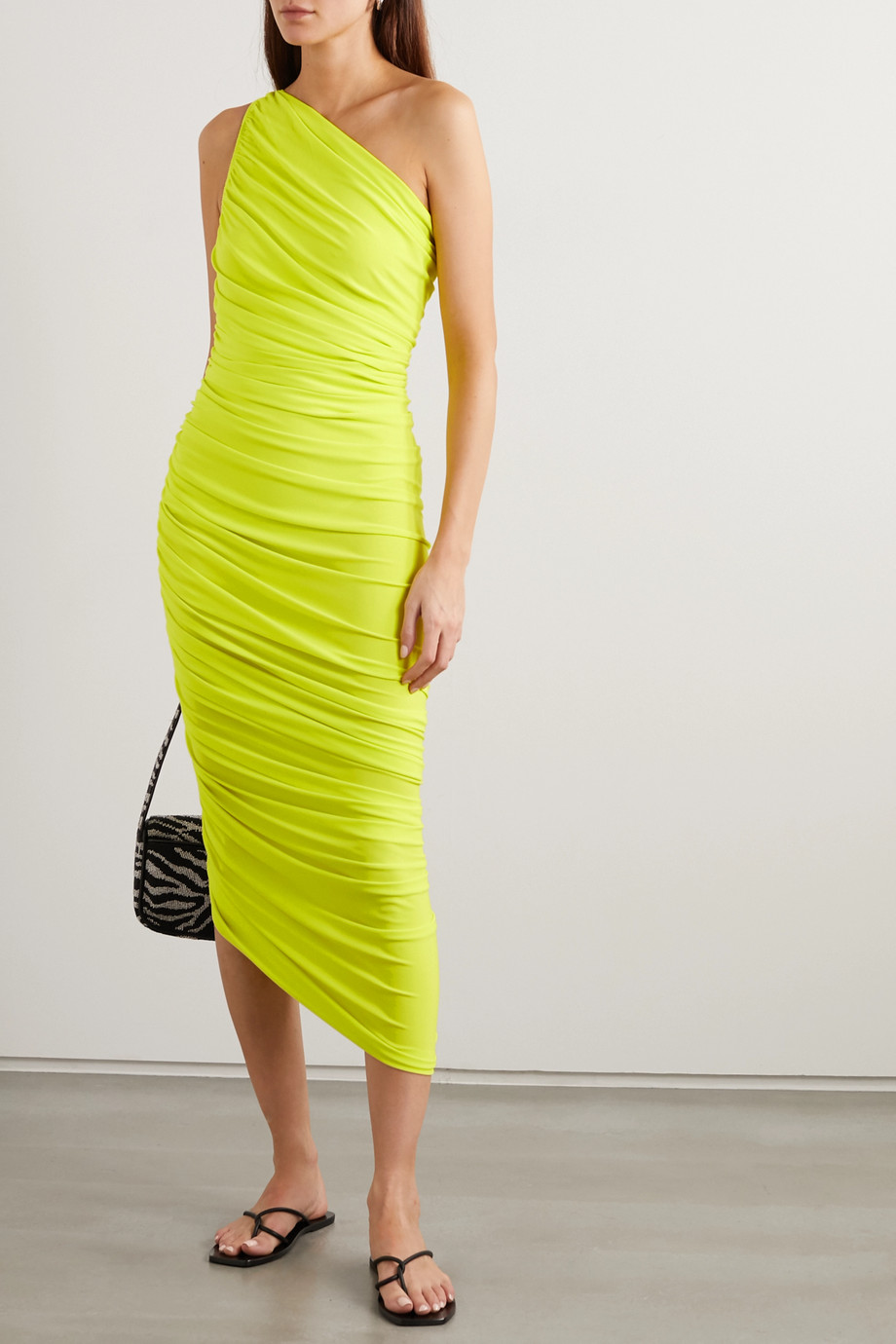 Norma Kamali Diana one-shoulder stretch-jersey midi dress