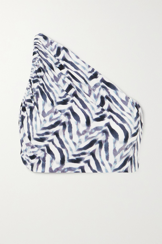 Zebra Print Diana One-shoulder Ruched Zebra-print Bikini Top | Norma Kamali
