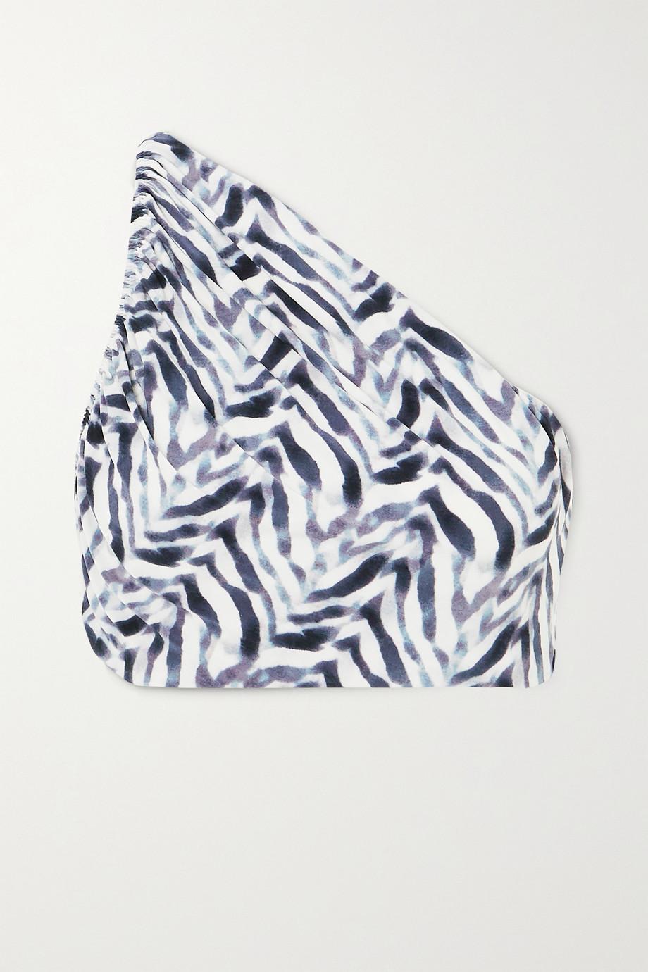 Norma Kamali Diana one-shoulder ruched zebra-print bikini top