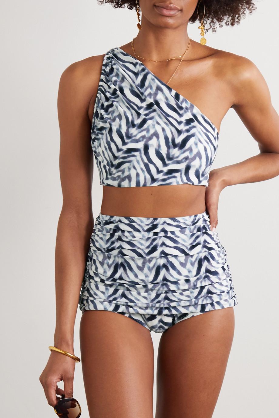 Norma Kamali Bill Bikini-Höschen mit Zebraprint und Raffung