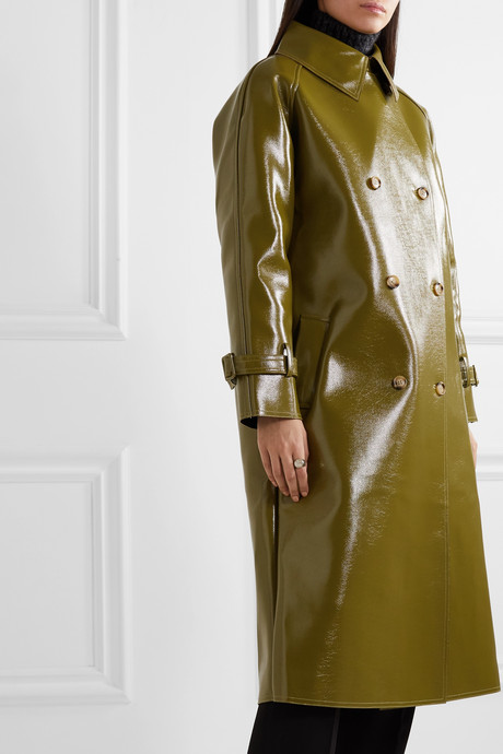 Double-breasted glossed faux textured-leather trench coat
