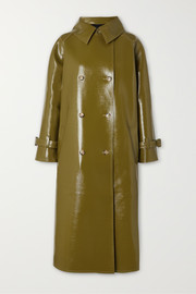 Oversized double-breasted glossed faux textured-leather trench coat