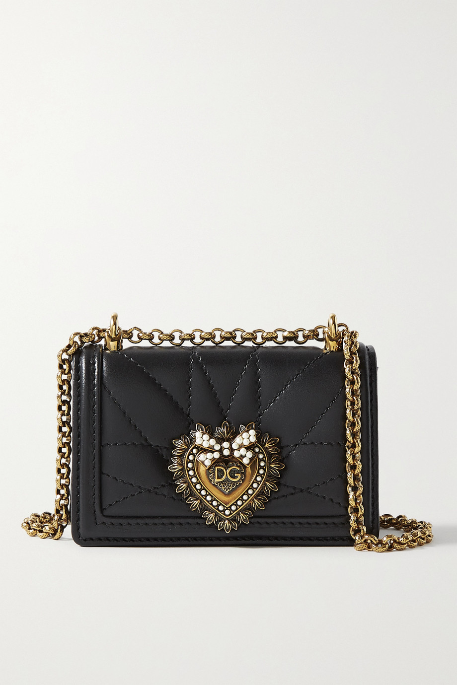 Dolce & Gabbana Devotion micro embellished quilted leather shoulder bag