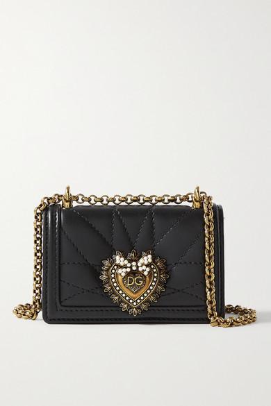 Dolce & Gabbana Devotion Micro Embellished Quilted Leather Shoulder Bag In Black