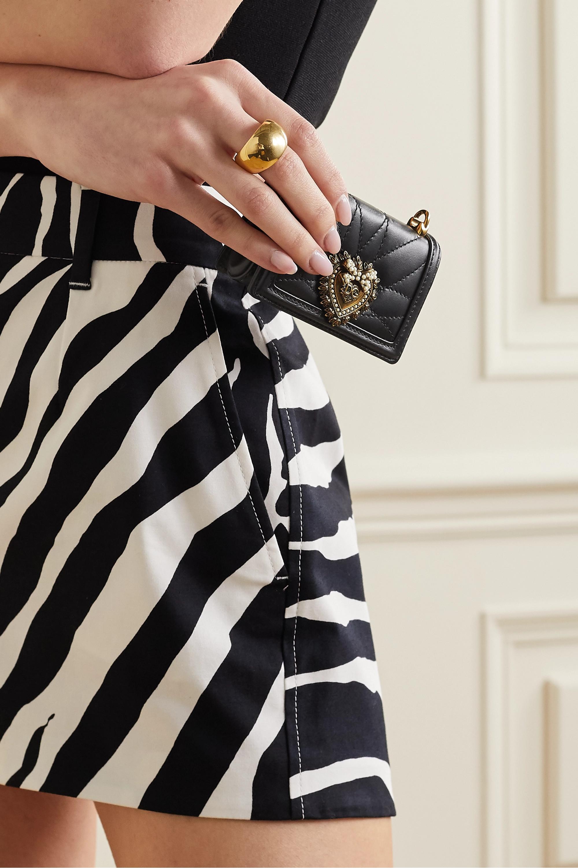 Dolce & Gabbana Devotion micro Schultertasche aus gestepptem Leder mit Verzierung