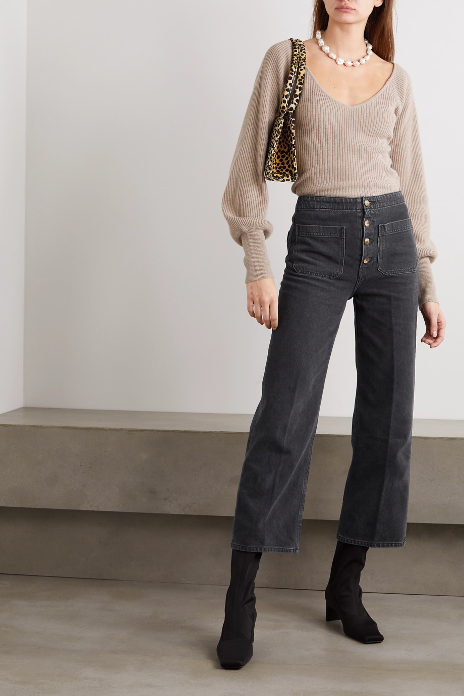 Reformation Eloise cropped high-rise wide-leg jeans