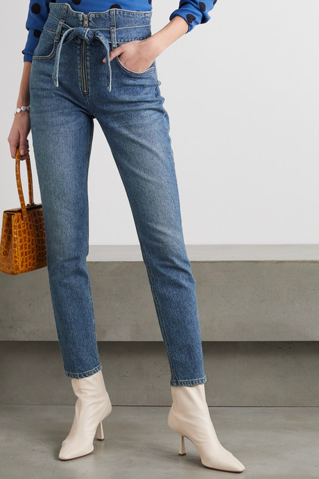 Yasmin belted high-rise straight-leg jeans