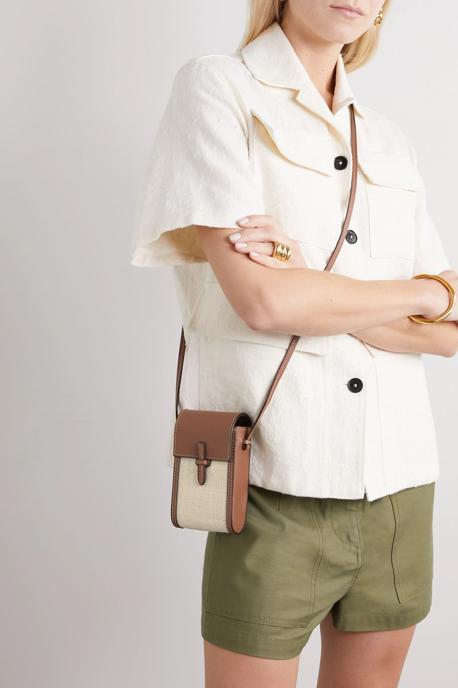 Hunting Season Leather and raffia shoulder bag