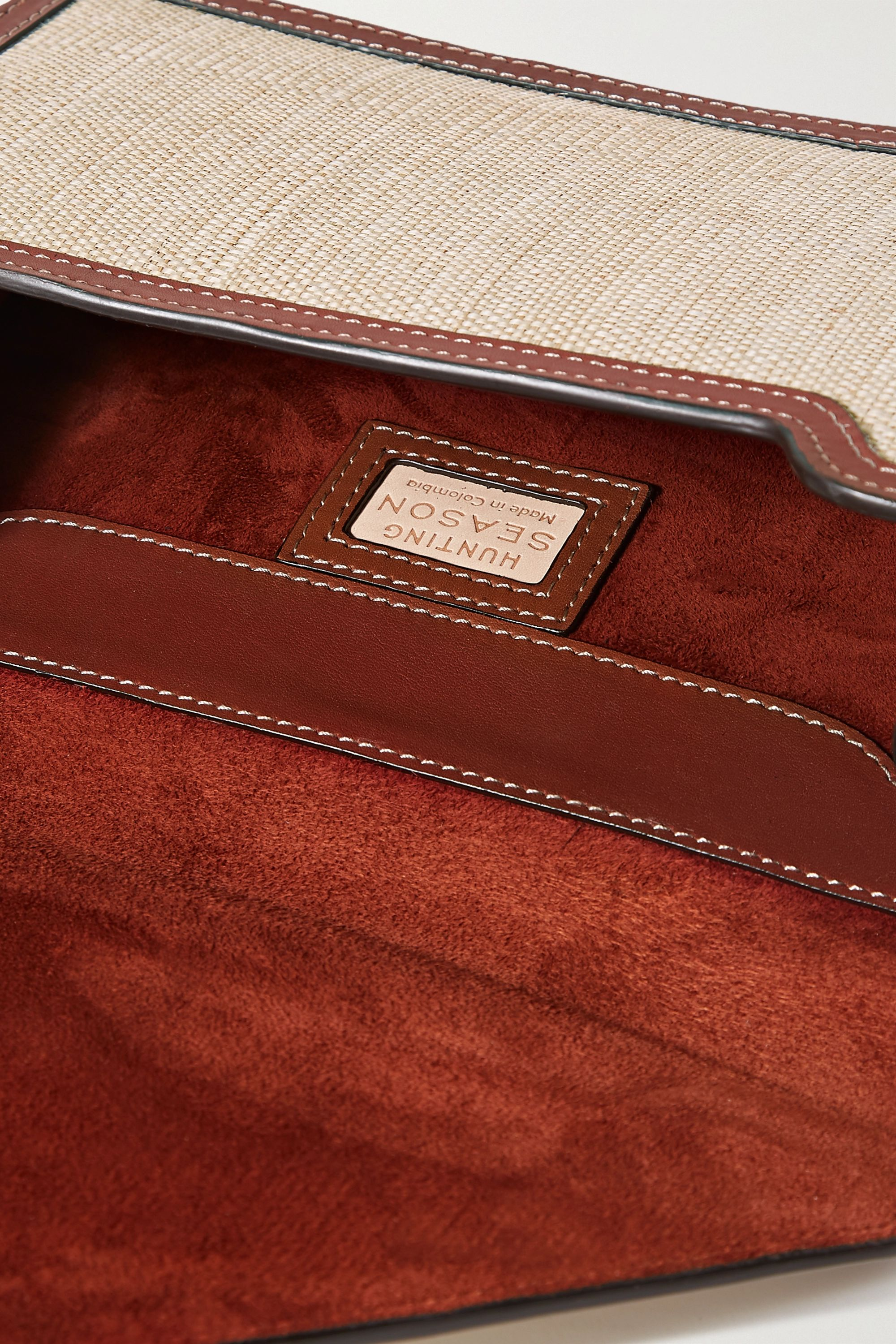 Hunting Season Envelope leather-trimmed fique clutch
