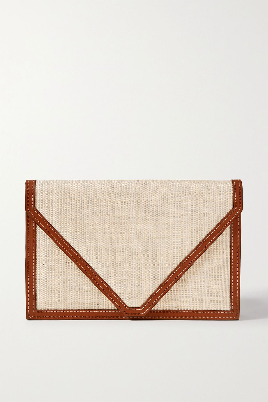 Hunting Season Envelope leather-trimmed raffia clutch