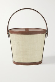 Hunting Season Leather-trimmed raffia tote